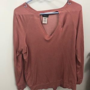 Pink long sleeved choker top from torrid size 1x